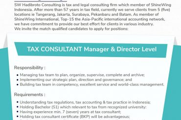We're Hiring: Tax Consultant – Manager & Director Level – September 22, 2020